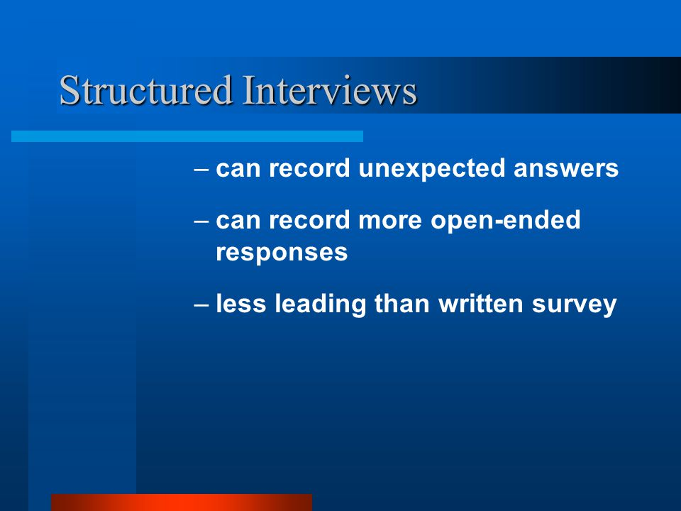Structured Interviews advantage over other types of interviews: best for large scale studies –can use assistants –responses can be more easily recorded and statistically analyzed