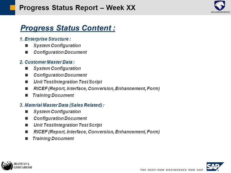  Progress Status Content :  1.