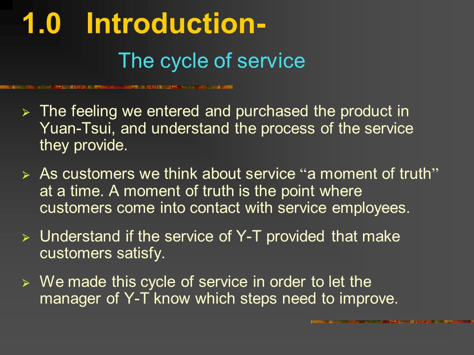 1.0 Introduction- Flower of service  Core product  Facilitating supplementary services Information Order taking Billing Payment  Enhancing supplementary services Consultation Hospitality Safekeeping Exceptions