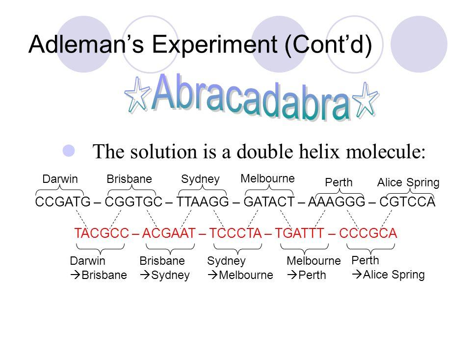 Adleman's Experiment (Cont'd) The solution is a double helix molecule: CCGATG – CGGTGC – TTAAGG – GATACT – AAAGGG – CGTCCA TACGCC – ACGAAT – TCCCTA –