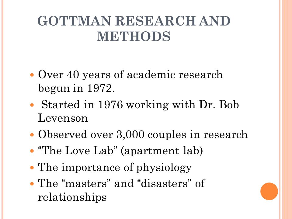 GOTTMAN RESEARCH AND METHODS Over 40 years of academic research begun in 1972.