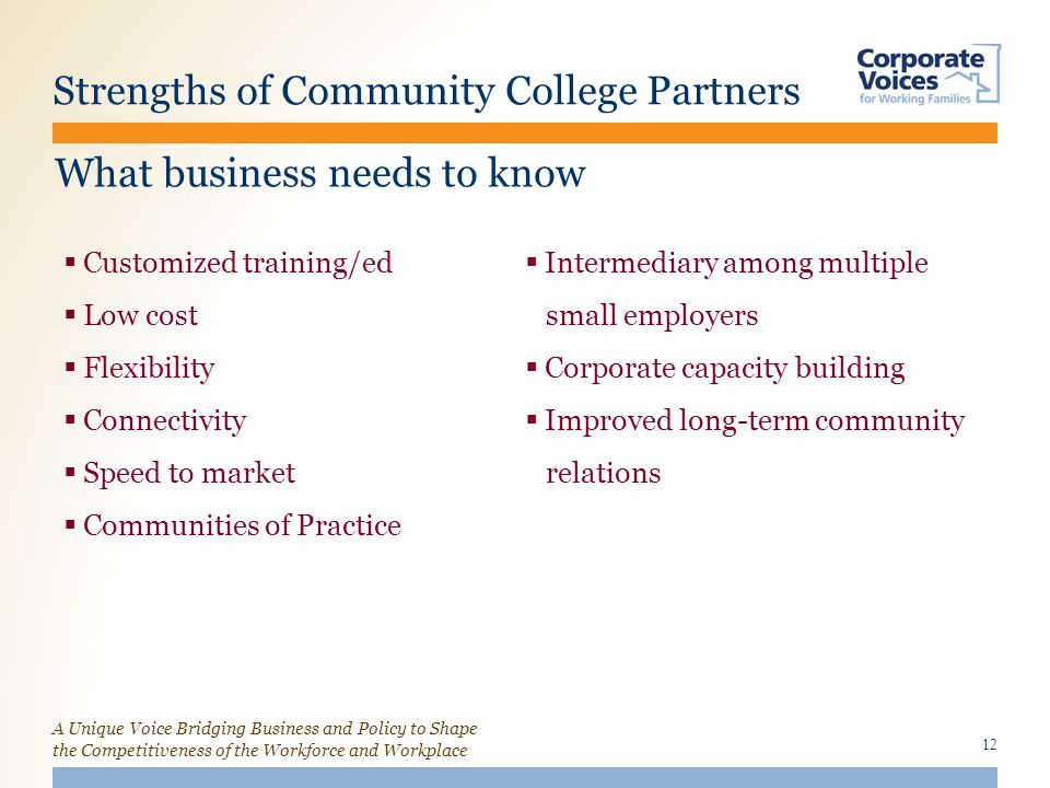 A Unique Voice Bridging Business and Policy to Shape the Competitiveness of the Workforce and Workplace Strengths of Community College Partners  Customized training/ed  Low cost  Flexibility  Connectivity  Speed to market  Communities of Practice  Intermediary among multiple small employers  Corporate capacity building  Improved long-term community relations 12 What business needs to know