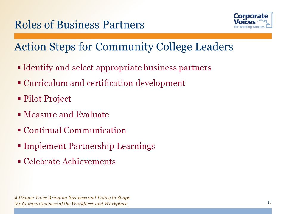 A Unique Voice Bridging Business and Policy to Shape the Competitiveness of the Workforce and Workplace Roles of Business Partners 17  Identify and select appropriate business partners  Curriculum and certification development  Pilot Project  Measure and Evaluate  Continual Communication  Implement Partnership Learnings  Celebrate Achievements Action Steps for Community College Leaders