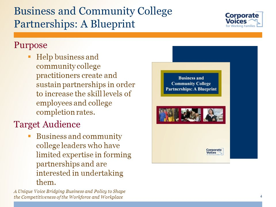 A Unique Voice Bridging Business and Policy to Shape the Competitiveness of the Workforce and Workplace Business and Community College Partnerships: A Blueprint Purpose  Help business and community college practitioners create and sustain partnerships in order to increase the skill levels of employees and college completion rates.