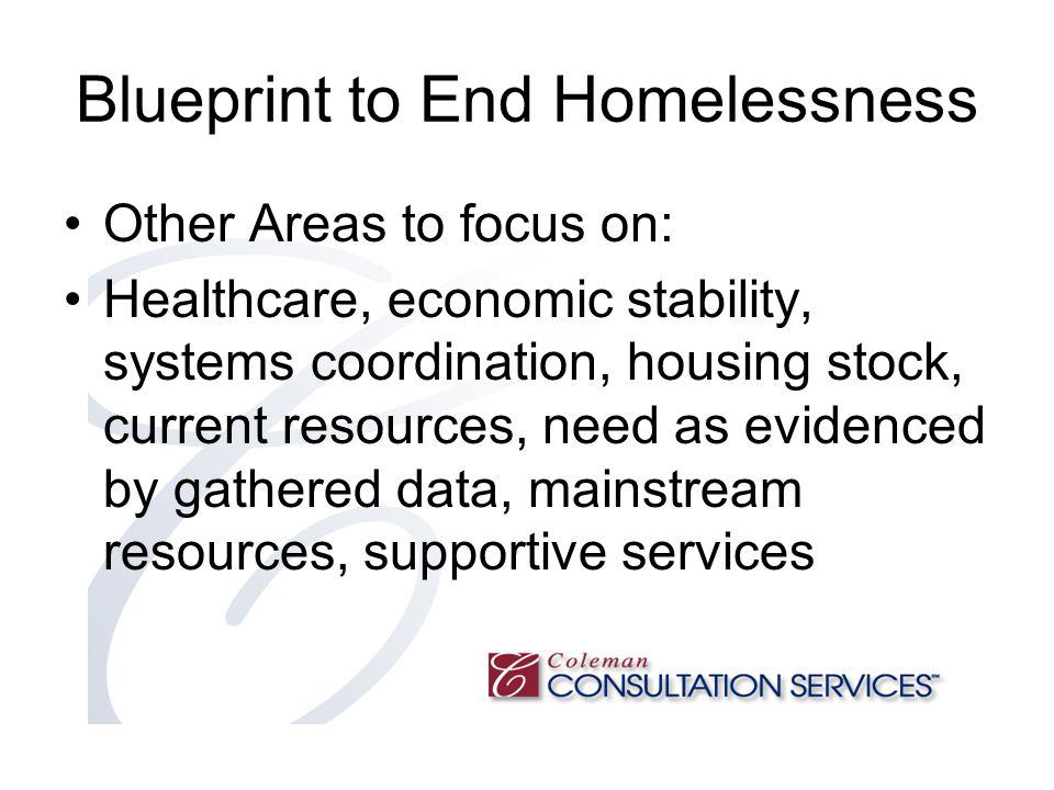 Blueprint to End Homelessness Other Areas to focus on: Healthcare, economic stability, systems coordination, housing stock, current resources, need as evidenced by gathered data, mainstream resources, supportive services