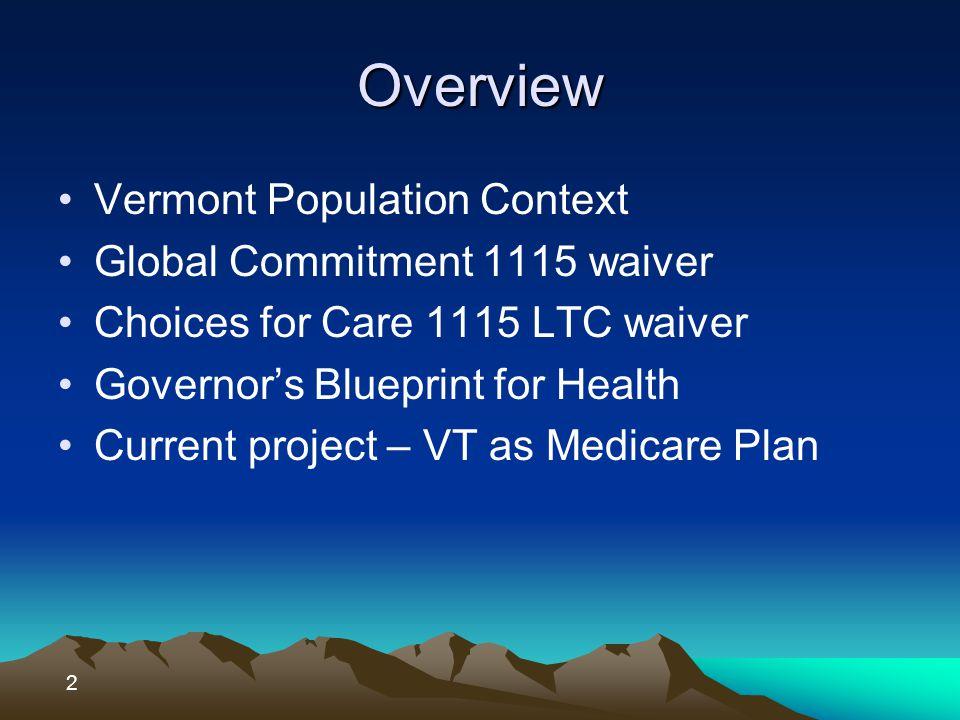 VT Population context Total state population – estimated 600,000 Total Medicare population – est.