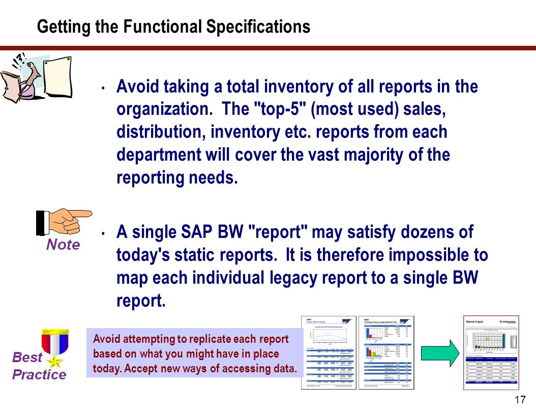 16 A Process Look at Getting Functional Specifications There is more than one way to collect this information.