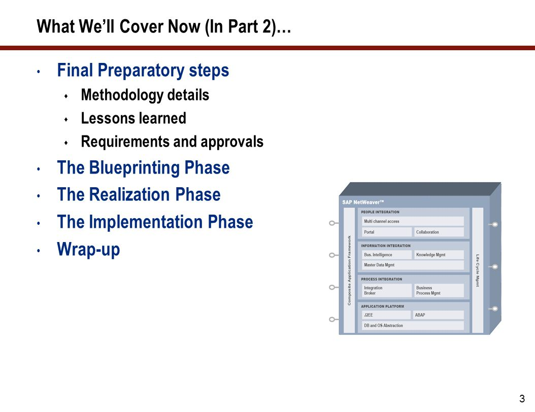 2 What We've Covered So Far (in Part 1)… Writing your SAP BW business case Defining the scope of your implementation Writing a milestone plan Developing your staffing plan Budgeting On-boarding and training Writing your workplan Monitoring the progress of your project Monitoring quality / instituting a formal approval process Why you need an SAP BW user acceptance group