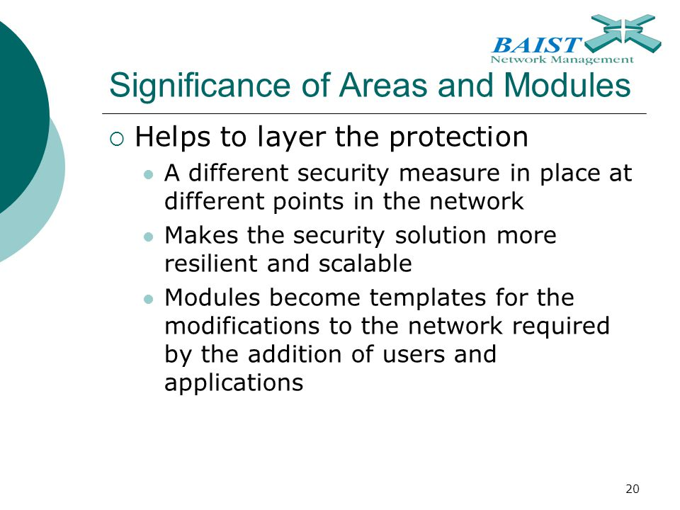 20 Significance of Areas and Modules  Helps to layer the protection A different security measure in place at different points in the network Makes the security solution more resilient and scalable Modules become templates for the modifications to the network required by the addition of users and applications