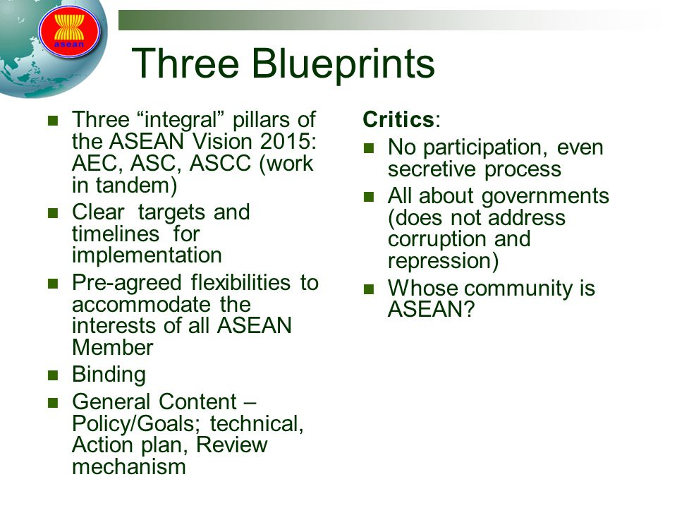 Three Blueprints Three integral pillars of the ASEAN Vision 2015: AEC, ASC, ASCC (work in tandem) Clear targets and timelines for implementation Pre-agreed flexibilities to accommodate the interests of all ASEAN Member Binding General Content – Policy/Goals; technical, Action plan, Review mechanism Critics: No participation, even secretive process All about governments (does not address corruption and repression) Whose community is ASEAN?