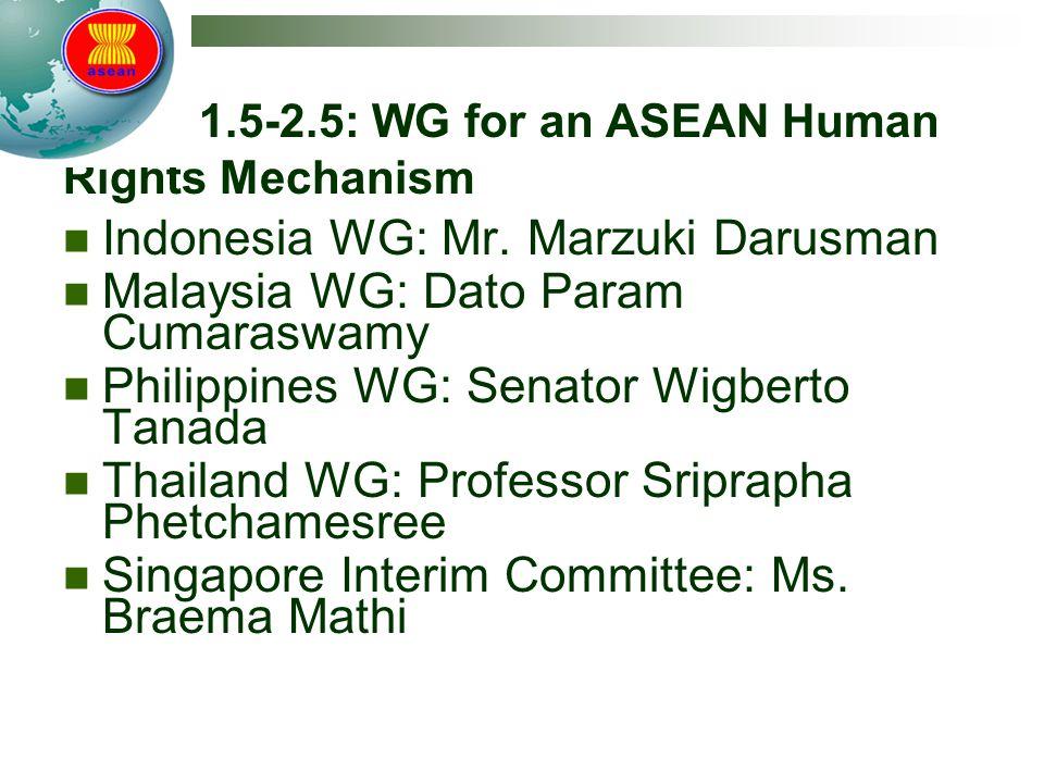 Track 1.5-2.5: WG for an ASEAN Human Rights Mechanism Indonesia WG: Mr. Marzuki Darusman Malaysia WG: Dato Param Cumaraswamy Philippines WG: Senator W