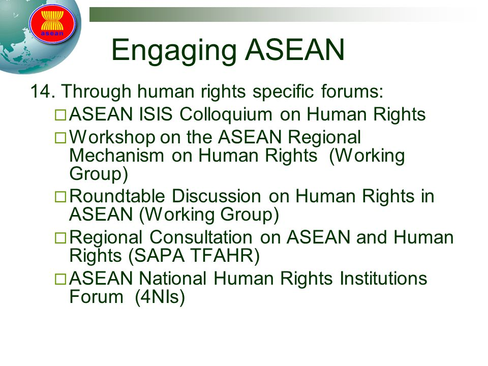 Engaging ASEAN 14.