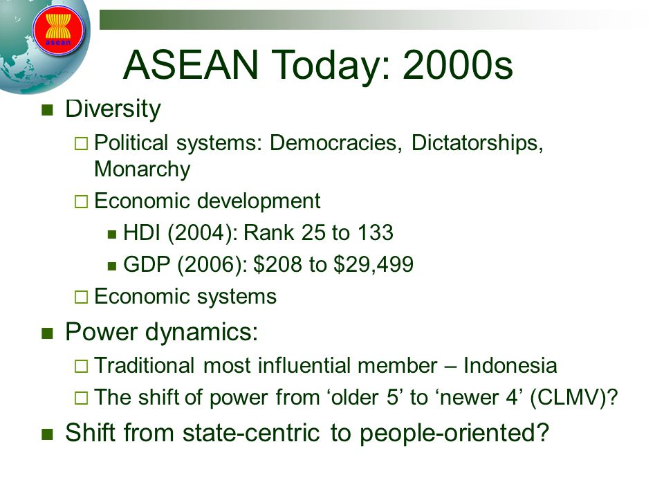 Diversity  Political systems: Democracies, Dictatorships, Monarchy  Economic development HDI (2004): Rank 25 to 133 GDP (2006): $208 to $29,499  Economic systems Power dynamics:  Traditional most influential member – Indonesia  The shift of power from 'older 5' to 'newer 4' (CLMV).