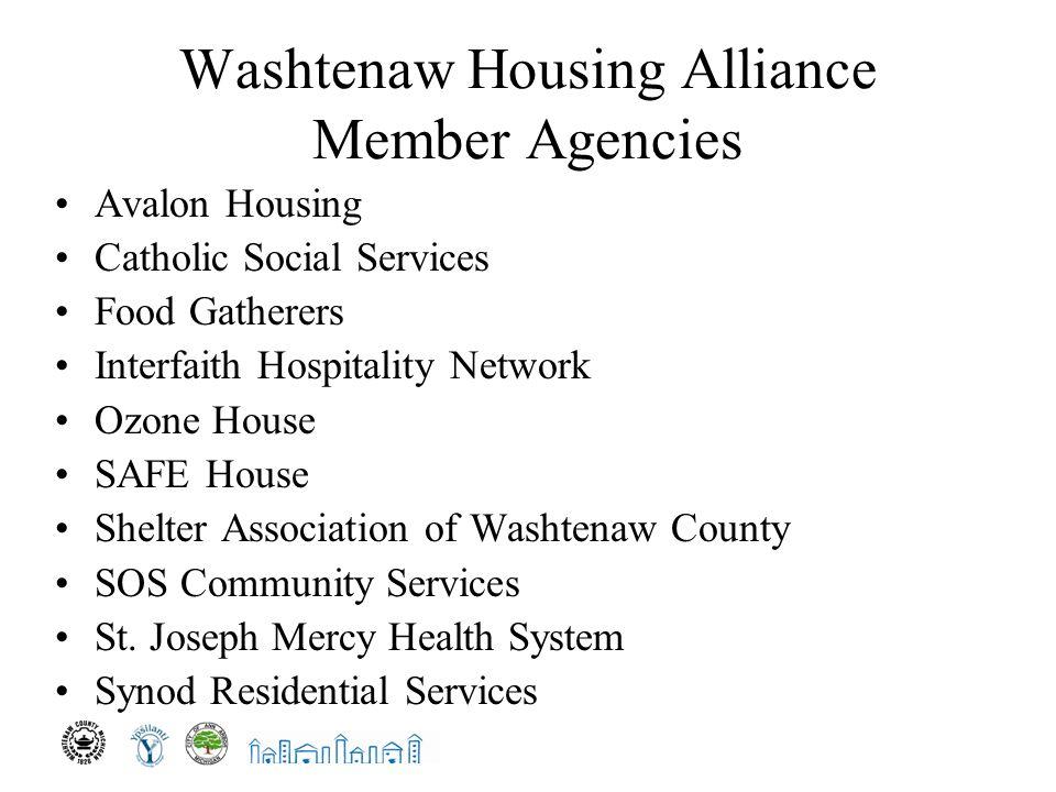 Washtenaw Housing Alliance Member Agencies Avalon Housing Catholic Social Services Food Gatherers Interfaith Hospitality Network Ozone House SAFE House Shelter Association of Washtenaw County SOS Community Services St.