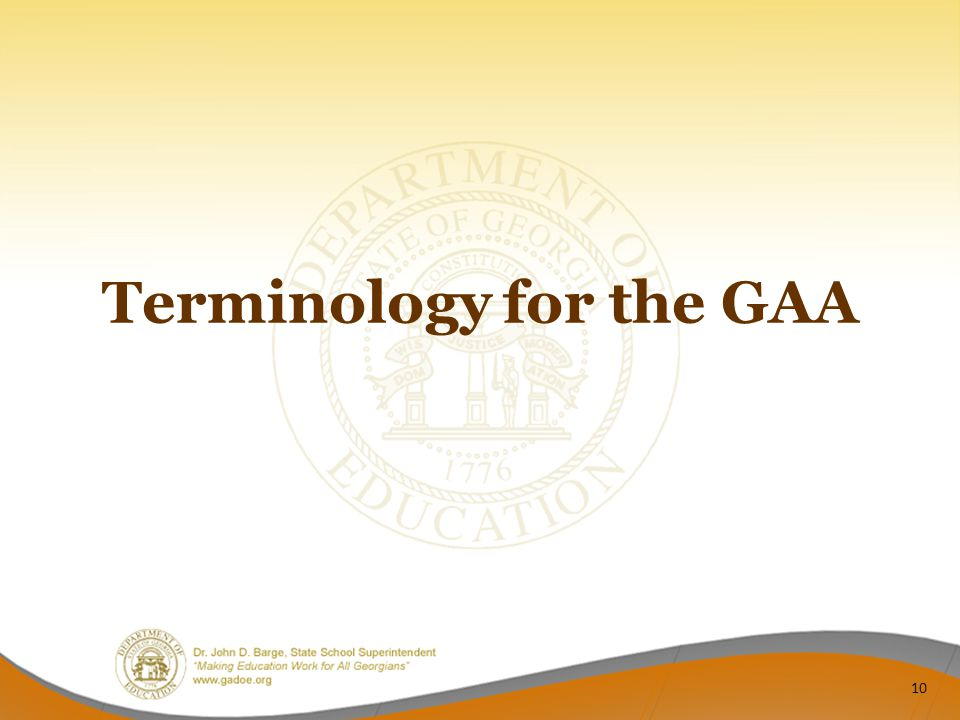 Terminology for the GAA 10
