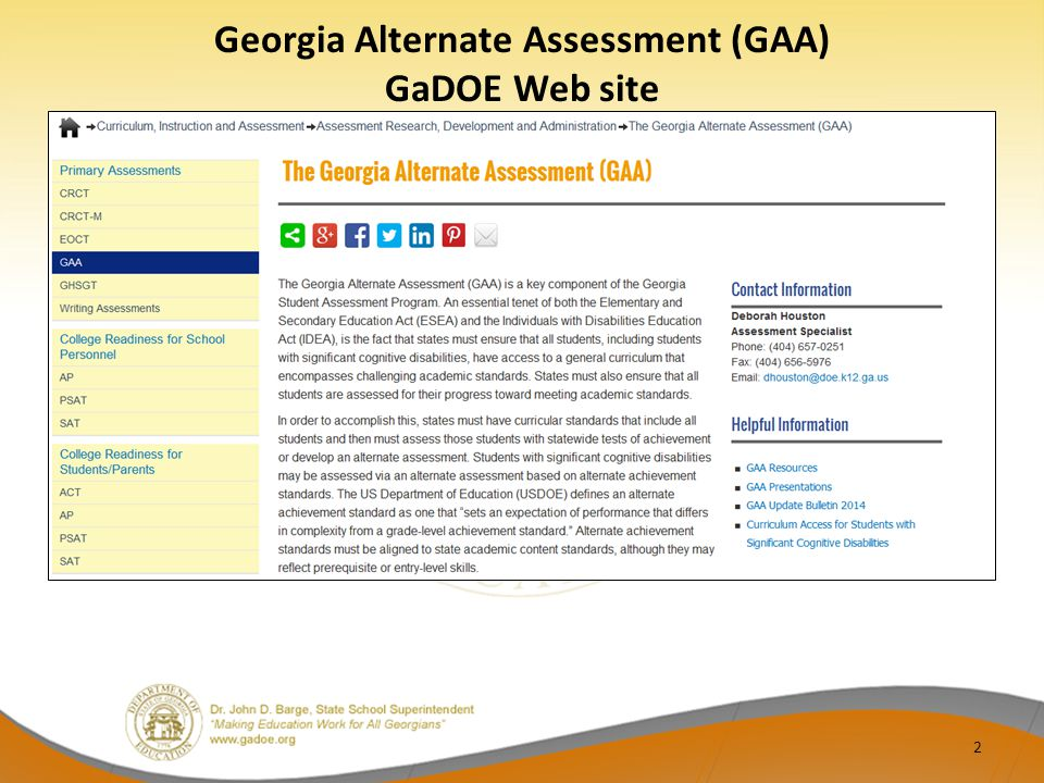 2 Georgia Alternate Assessment (GAA) GaDOE Web site
