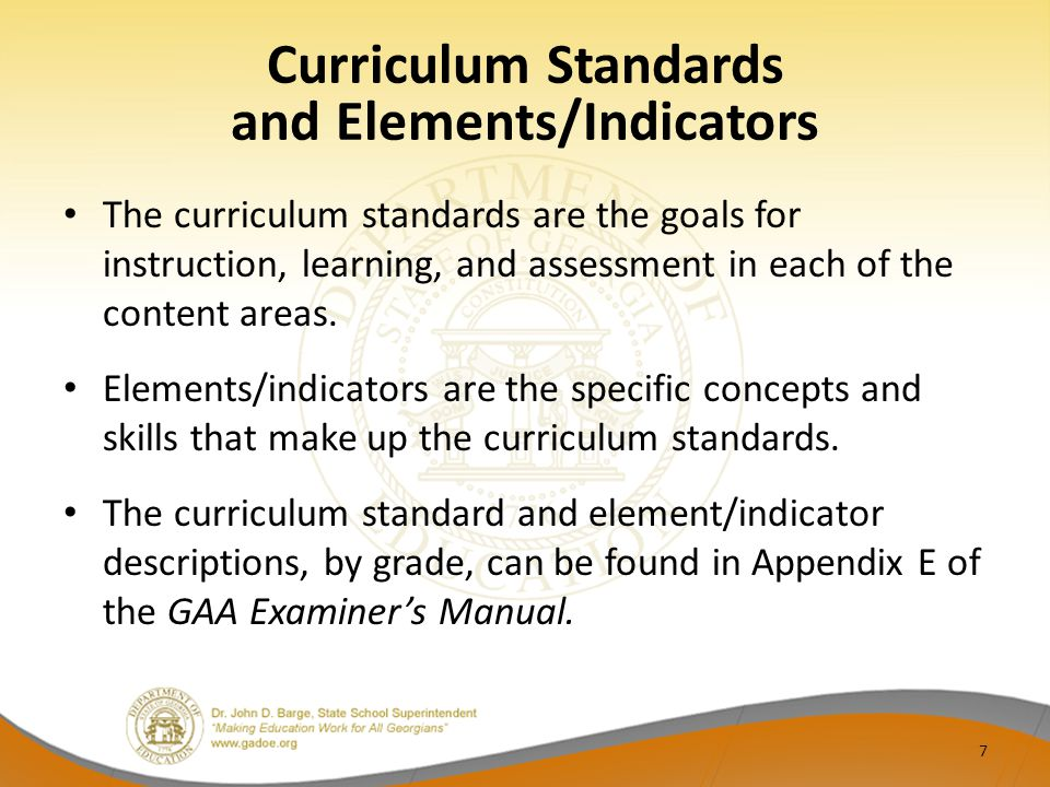 The curriculum standards are the goals for instruction, learning, and assessment in each of the content areas.