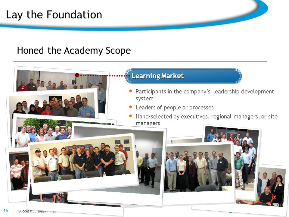 Successful Beginnings 16 Learning Market Participants in the company's leadership development system Leaders of people or processes Hand-selected by executives, regional managers, or site managers Honed the Academy Scope Lay the Foundation