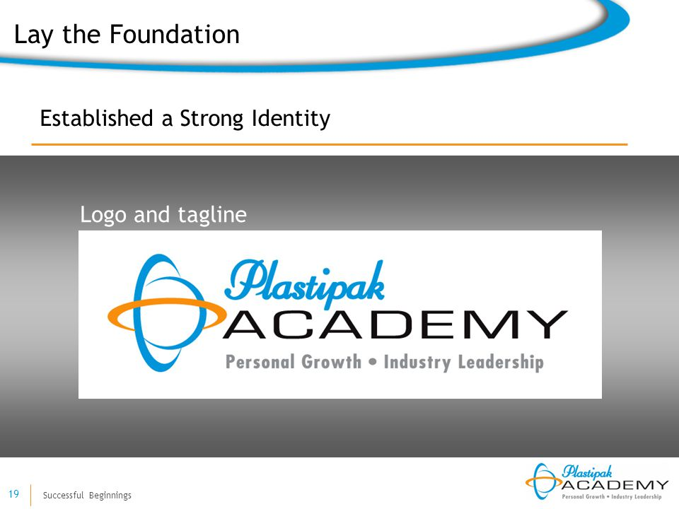 Successful Beginnings 19 Established a Strong Identity Logo and tagline Lay the Foundation