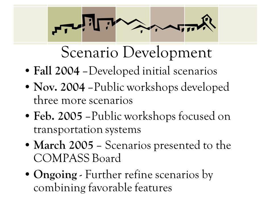 Scenario Development Fall 2004 –Developed initial scenarios Nov. 2004 –Public workshops developed three more scenarios Feb. 2005 –Public workshops foc