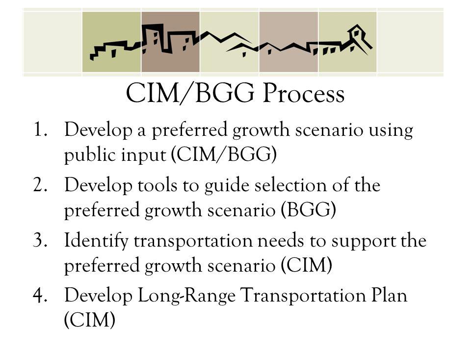 CIM/BGG Process 1.Develop a preferred growth scenario using public input (CIM/BGG) 2.Develop tools to guide selection of the preferred growth scenario