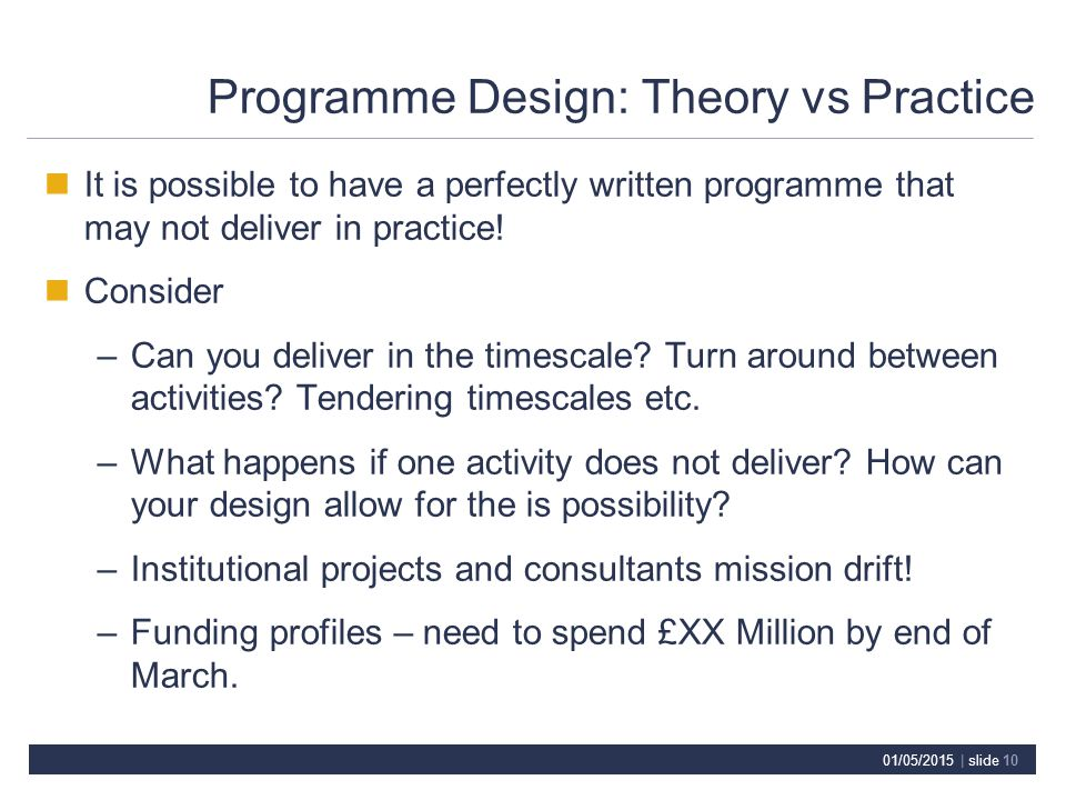 01/05/2015 | slide 10 Programme Design: Theory vs Practice It is possible to have a perfectly written programme that may not deliver in practice.