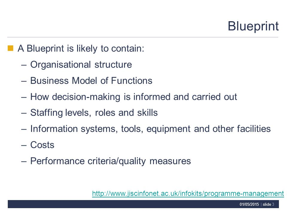 01/05/2015 | slide 3 Blueprint A Blueprint is likely to contain: –Organisational structure –Business Model of Functions –How decision-making is informed and carried out –Staffing levels, roles and skills –Information systems, tools, equipment and other facilities –Costs –Performance criteria/quality measures http://www.jiscinfonet.ac.uk/infokits/programme-management