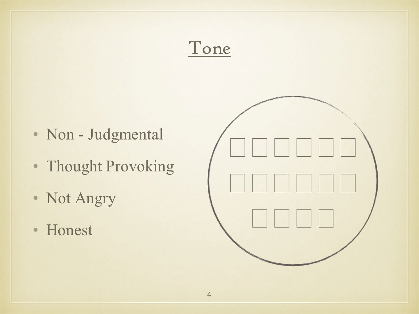 Tone Non - Judgmental Thought Provoking Not Angry Honest 4