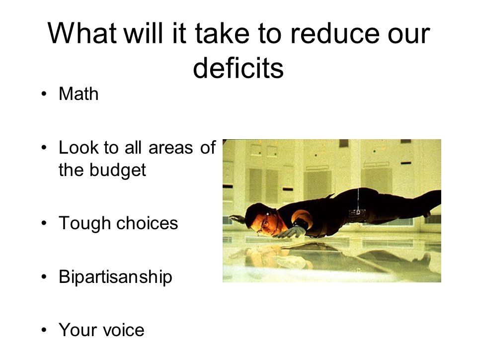 What will it take to reduce our deficits Math Look to all areas of the budget Tough choices Bipartisanship Your voice