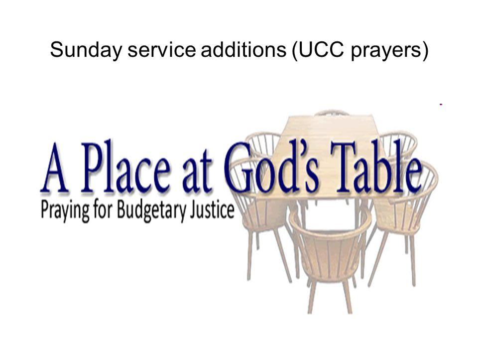 Sunday service additions (UCC prayers)