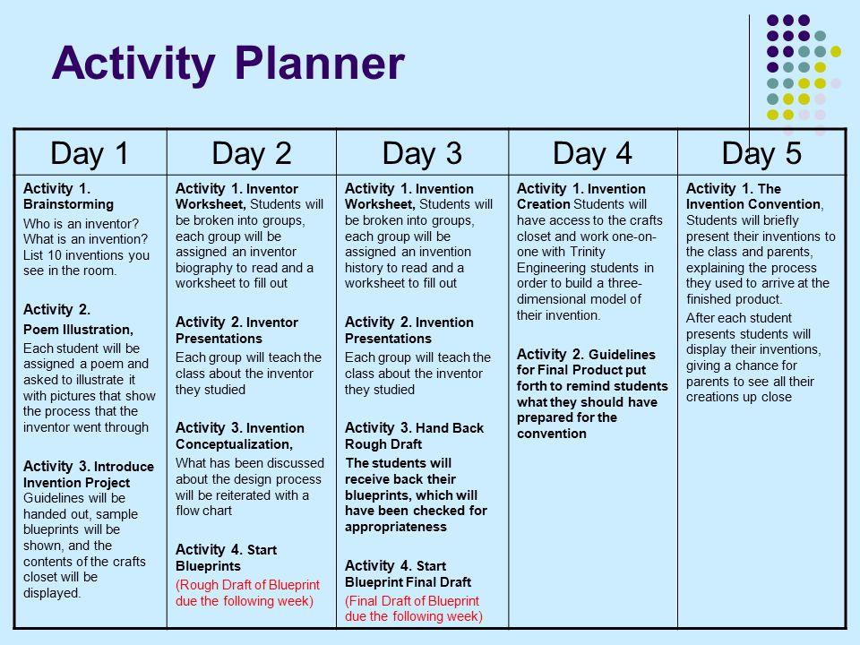 Activity Planner Day 1Day 2Day 3Day 4Day 5 Activity 1.