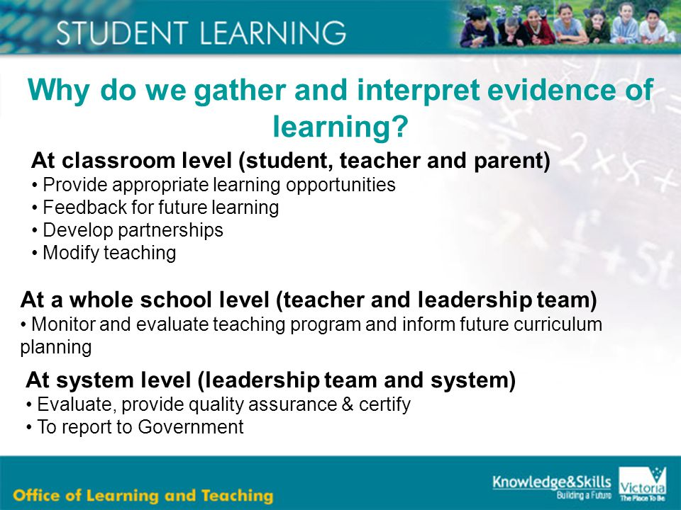 At classroom level (student, teacher and parent) Provide appropriate learning opportunities Feedback for future learning Develop partnerships Modify teaching Why do we gather and interpret evidence of learning.