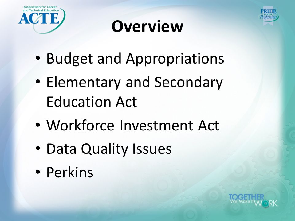 Overview Budget and Appropriations Elementary and Secondary Education Act Workforce Investment Act Data Quality Issues Perkins
