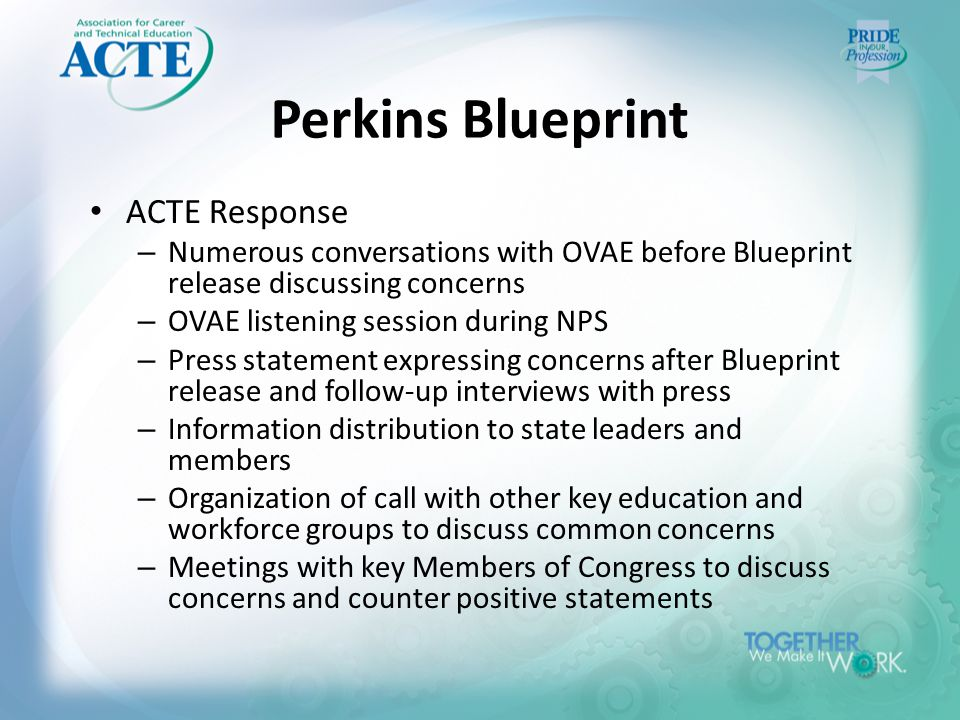 Perkins Blueprint ACTE Response – Numerous conversations with OVAE before Blueprint release discussing concerns – OVAE listening session during NPS – Press statement expressing concerns after Blueprint release and follow-up interviews with press – Information distribution to state leaders and members – Organization of call with other key education and workforce groups to discuss common concerns – Meetings with key Members of Congress to discuss concerns and counter positive statements