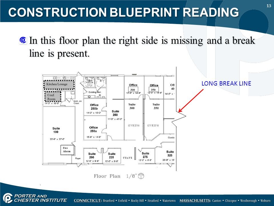 13 CONSTRUCTION BLUEPRINT READING In this floor plan the right side is missing and a break line is present. LONG BREAK LINE