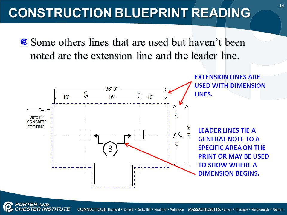 14 CONSTRUCTION BLUEPRINT READING Some others lines that are used but haven't been noted are the extension line and the leader line. EXTENSION LINES A