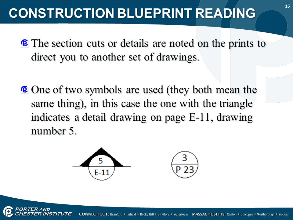 16 CONSTRUCTION BLUEPRINT READING The section cuts or details are noted on the prints to direct you to another set of drawings. One of two symbols are