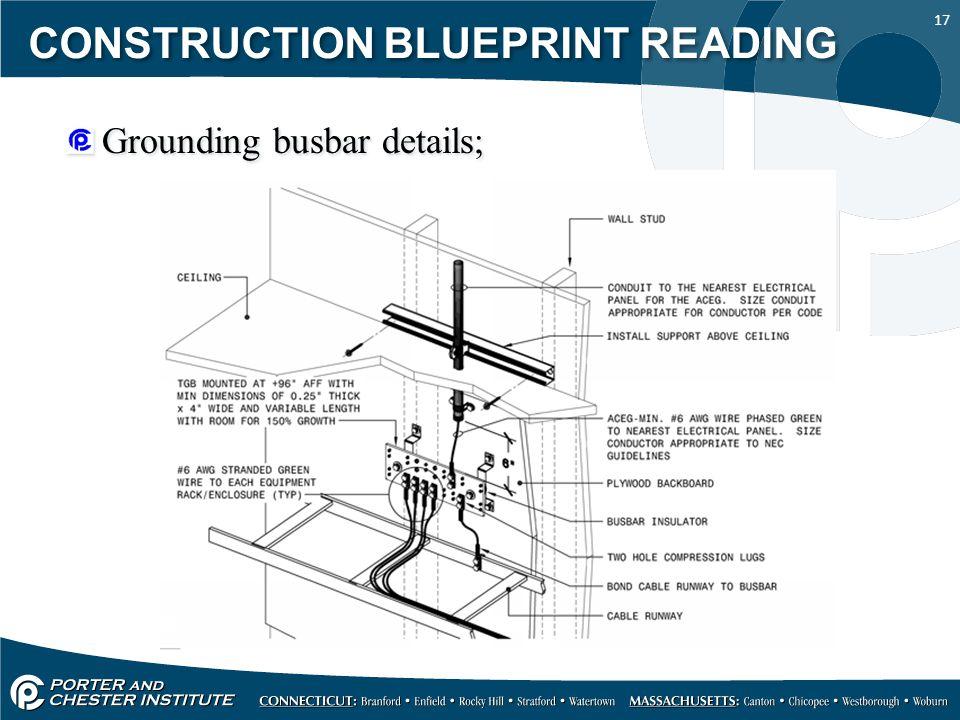 17 CONSTRUCTION BLUEPRINT READING Grounding busbar details;