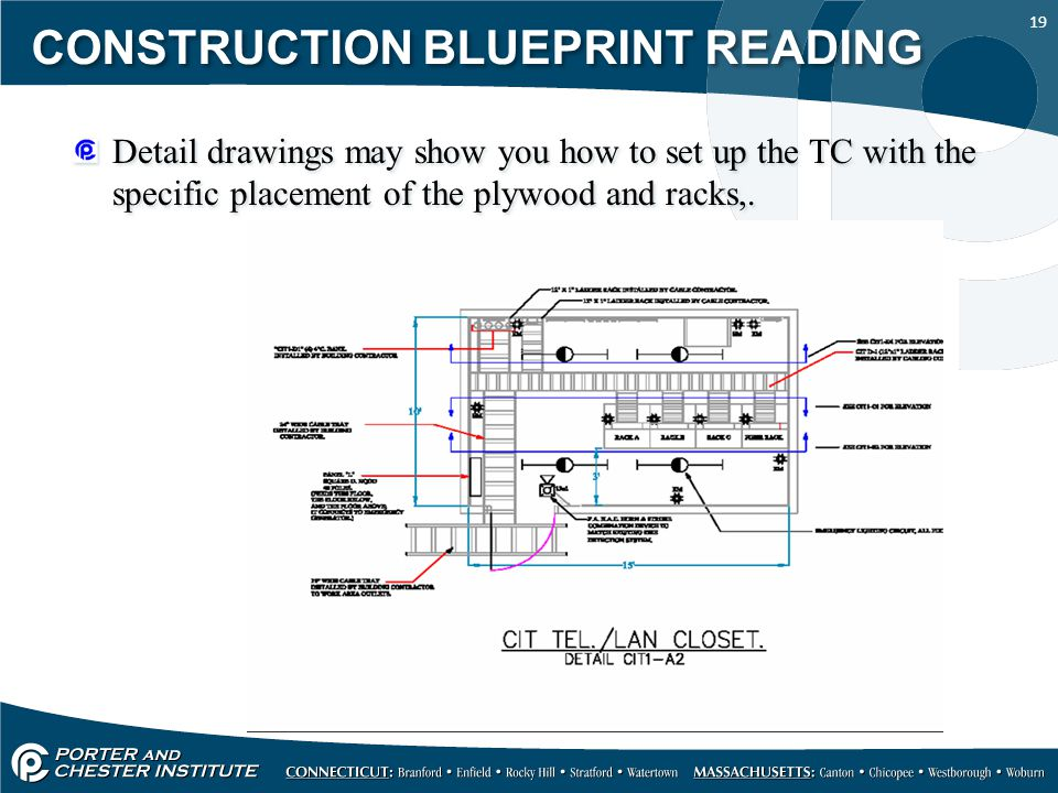 19 CONSTRUCTION BLUEPRINT READING Detail drawings may show you how to set up the TC with the specific placement of the plywood and racks,.
