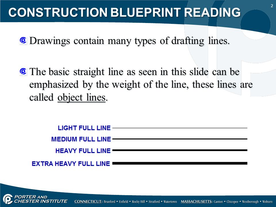 2 CONSTRUCTION BLUEPRINT READING Drawings contain many types of drafting lines. The basic straight line as seen in this slide can be emphasized by the