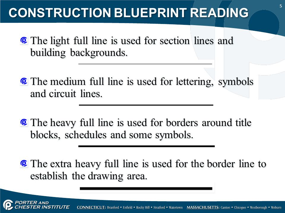 5 CONSTRUCTION BLUEPRINT READING The light full line is used for section lines and building backgrounds. The medium full line is used for lettering, s