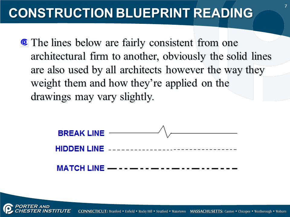 7 CONSTRUCTION BLUEPRINT READING The lines below are fairly consistent from one architectural firm to another, obviously the solid lines are also used