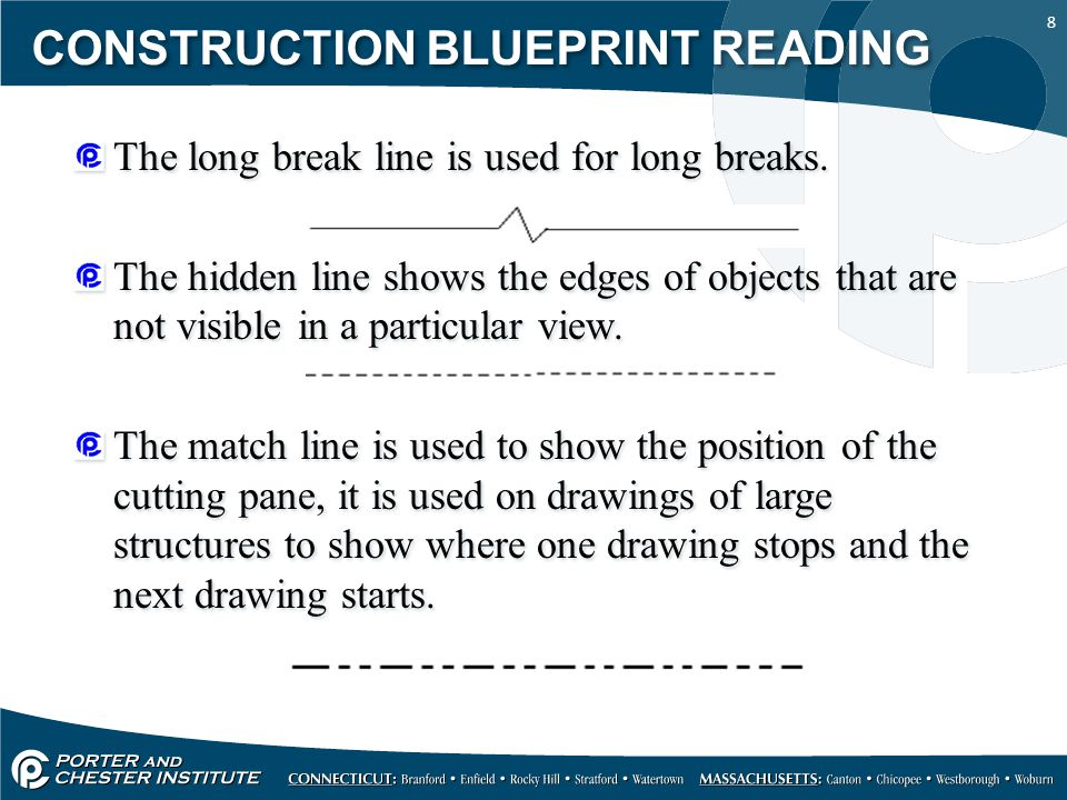 8 CONSTRUCTION BLUEPRINT READING The long break line is used for long breaks. The hidden line shows the edges of objects that are not visible in a par