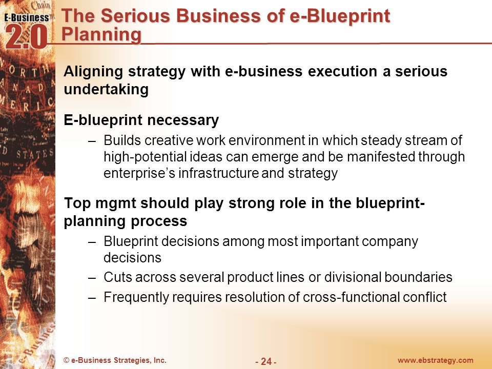 © e-Business Strategies, Inc.www.ebstrategy.com - 25 - Alignment in Today's Environment 75% of e-commerce projects are bound to fail because of a lack of good business planning and unreal expectations of what new technologies can do for their business.