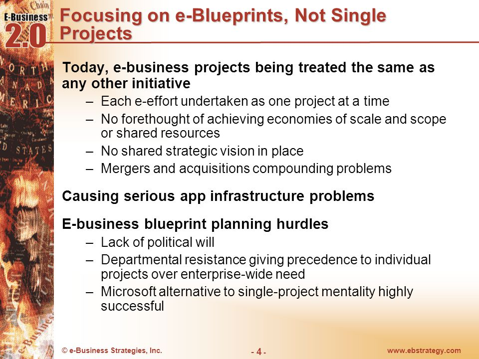 © e-Business Strategies, Inc.www.ebstrategy.com - 5 - Focusing on e-Blueprints, Not Single Projects Work backwards Time Thinking Ahead Approach An e-Blueprint combines a clear understanding of where you need to be with what needs to be done.