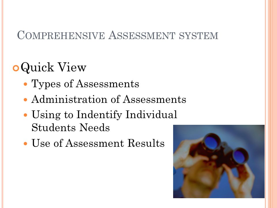 C OMPREHENSIVE A SSESSMENT SYSTEM Quick View Types of Assessments Administration of Assessments Using to Indentify Individual Students Needs Use of Assessment Results