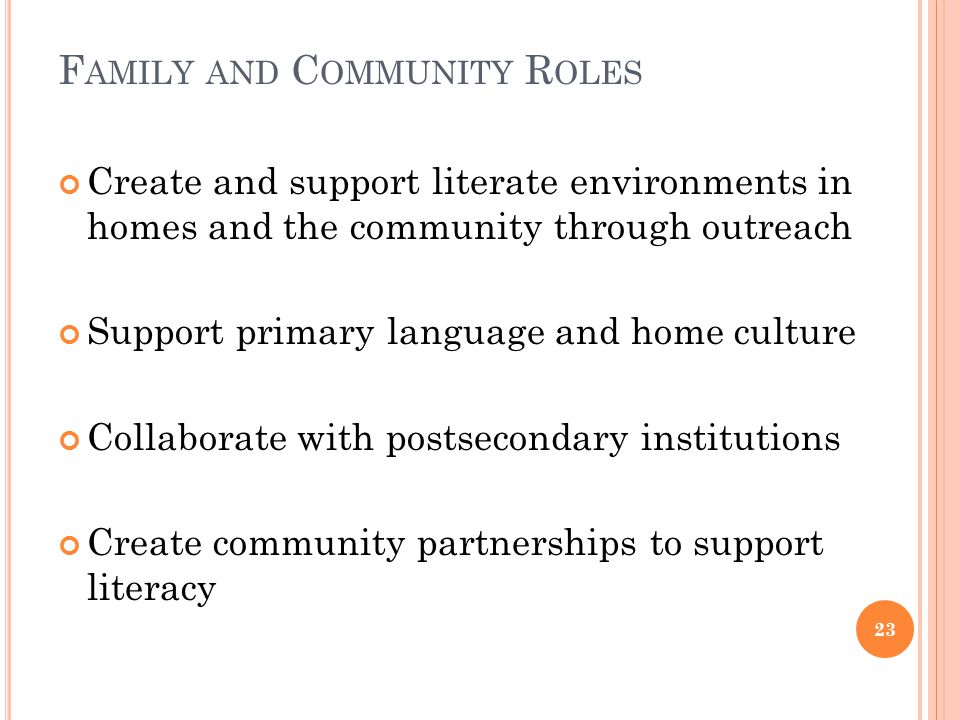 F AMILY AND C OMMUNITY R OLES Create and support literate environments in homes and the community through outreach Support primary language and home culture Collaborate with postsecondary institutions Create community partnerships to support literacy 23