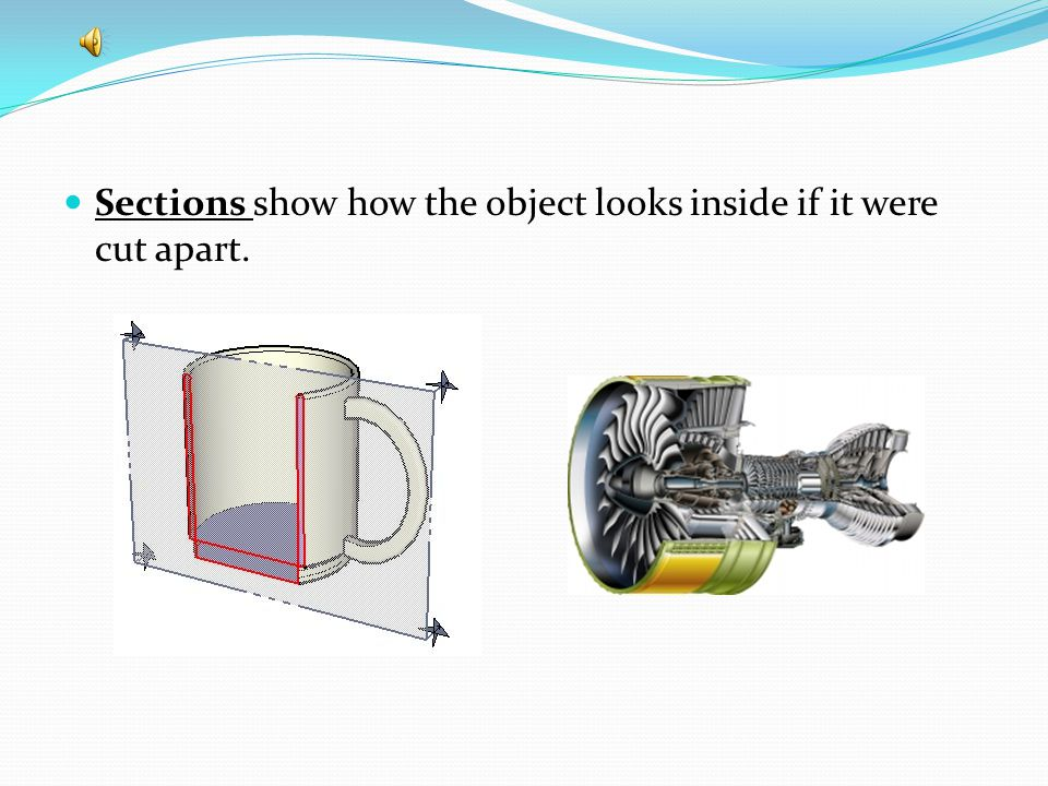 Sections show how the object looks inside if it were cut apart.