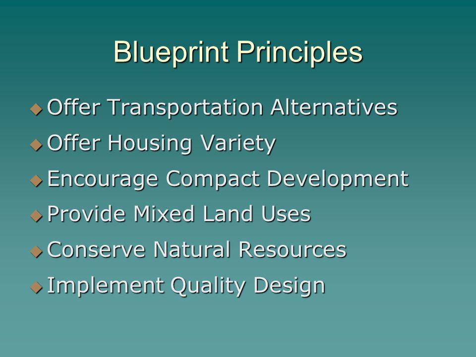 Blueprint Principles  Offer Transportation Alternatives  Offer Housing Variety  Encourage Compact Development  Provide Mixed Land Uses  Conserve