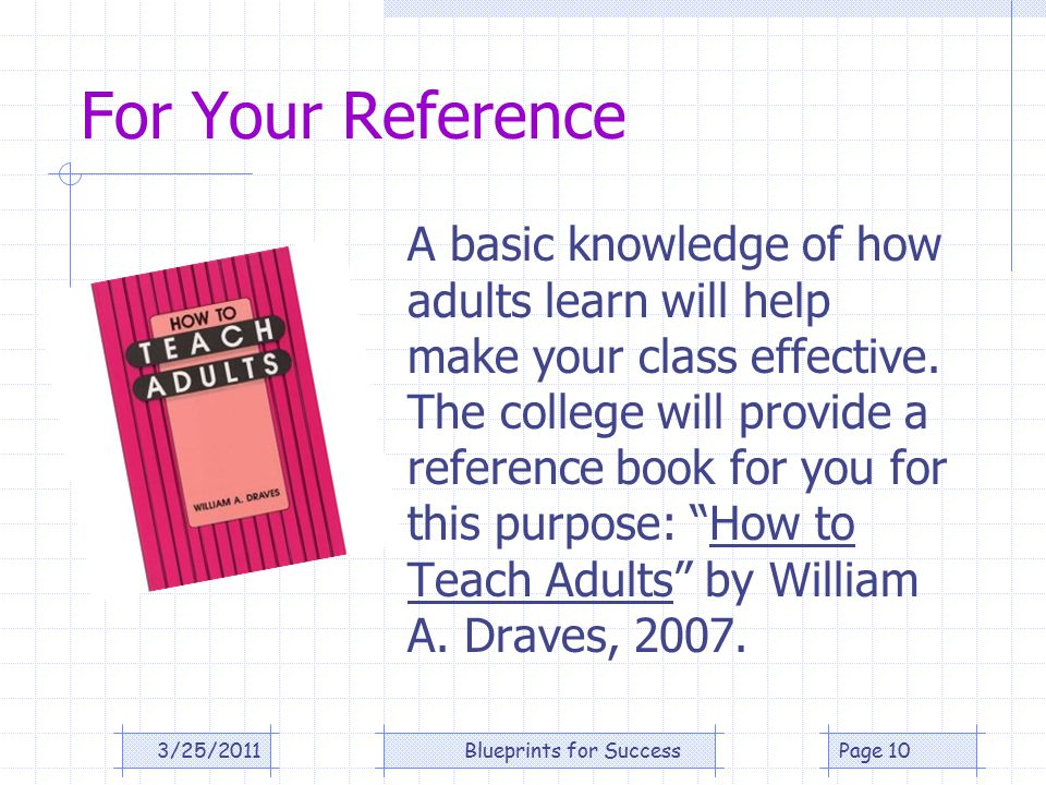For Your Reference A basic knowledge of how adults learn will help make your class effective.